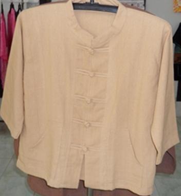 เสื้อผ้าฝ้ายคอจีนกระดุมจีนแขนสามส่วน