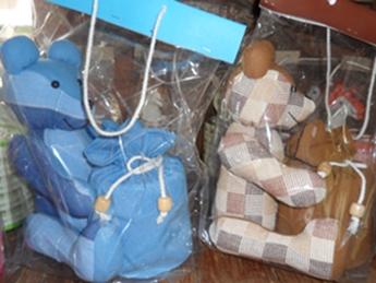 ผ้าหุ้มกล่องกระดาษทิชชูกลมตุ๊กตาหมีผ้าฝ้ายทอมือ 7