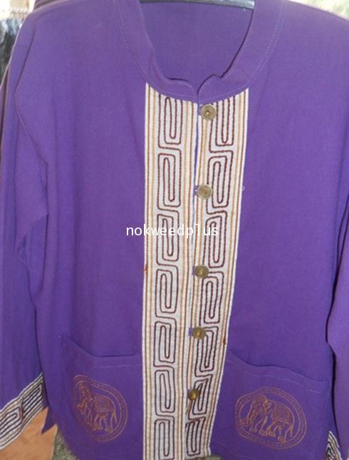 เสื้อผ้าฝ้ายคอจีนติดแถบเชือกกระดุมเหรียญปักรูปช้างแขนยาวสีม่วง