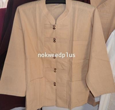 เสื้อผ้าฝ้ายคอจีนกระดุมจีนกะลาคู่แขนยาว