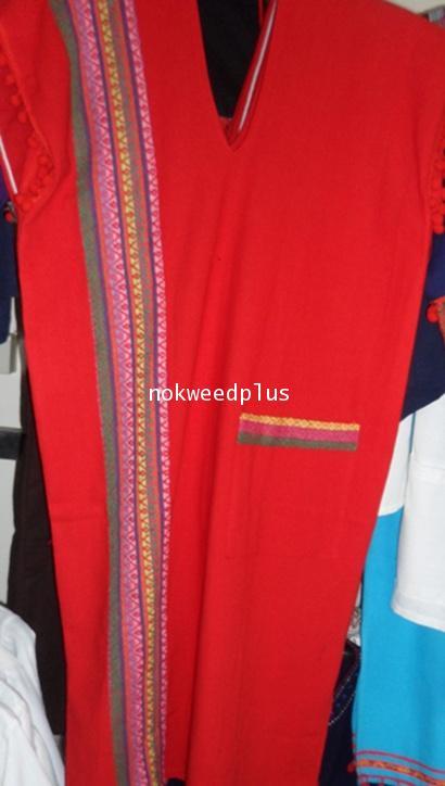ชุดแซกกะเหรี่ยงผ้าฝ้ายตกแต่งผ้าลายนากาแบบต่าง ๆ