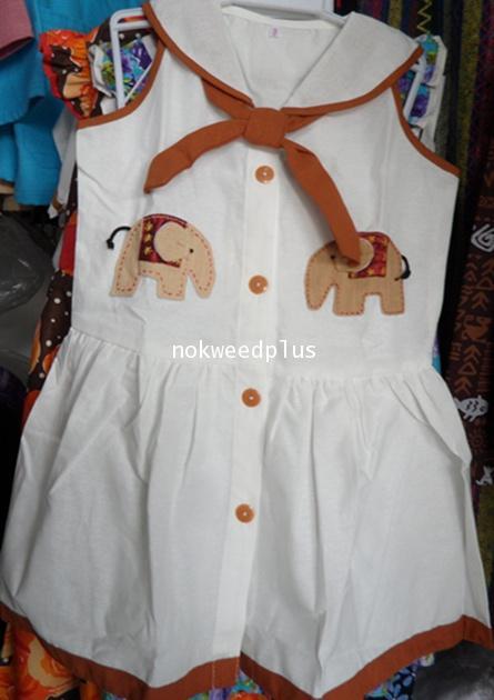 ชุดผ้าฝ้ายสีขาวเด็กหญิง