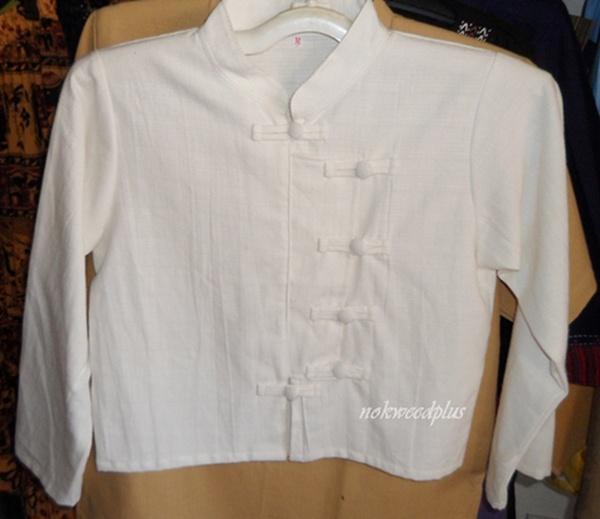 เสื้อผ้าฝ้ายคอจีนกระดุมป้ายปักเดินเส้นแขนสามส่วน