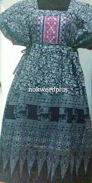 ชุดกะเหรี่ยงทรงเกาหลีผ้าฝ้ายสีน้ำเงินพิมพ์ลายเขียนเทียนชาวเขา