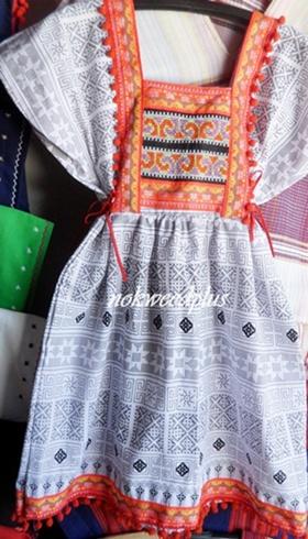 ชุดกะเหรี่ยงทรงเกาหลีผ้าฝ้ายพิมพ์ลาย(ดุ้งดุ้ง)