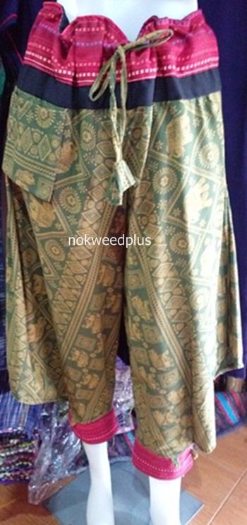 กางเกงชาวเขาผ้าฝ้ายพิมพ์ลายขายาว(กางเกงม้ง)