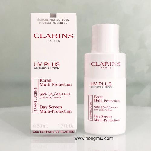 Pre-order : Clarins UV Plus Anti-Pollution SPF50/PA++++ 50ml. ~ Translucent สีโปร่งแสง