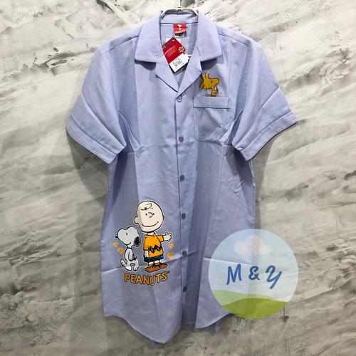 ชุดนอนกระโปรงแซก ผ้าชิโนริ ลาย Snoopy (Free size) - สีฟ้า