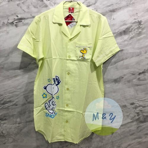 ชุดนอนกระโปรงแซก ผ้าชิโนริ ลาย Snoopy (Free size) - สีเหลือง