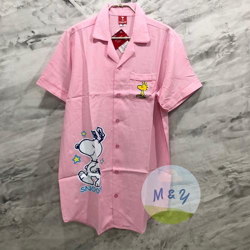 ชุดนอนกระโปรงแซก ผ้าชิโนริ ลาย Snoopy (Free size) - สีชมพู