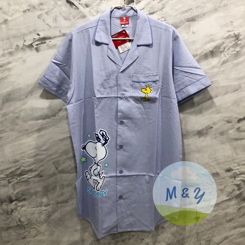 ชุดนอนกระโปรงแซก ผ้าชิโนริ ลาย Snoopy (Free size) - สีน้ำเงิน