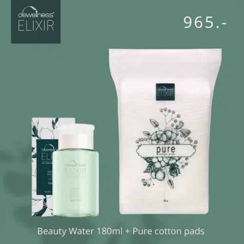 (รวมส่ง) DEWellness Beauty water 180ml + Pure cotton pads 50g.