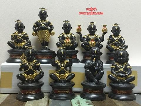 ชุดกำเนิดกุมารทอง ขนาดบูชา เนื้อสัมฤทธิ์ปิดทอง 9 องค์  หลวงปู่เณรแก้ว วัดบ้านเกษตรทุ่งเศรษฐี