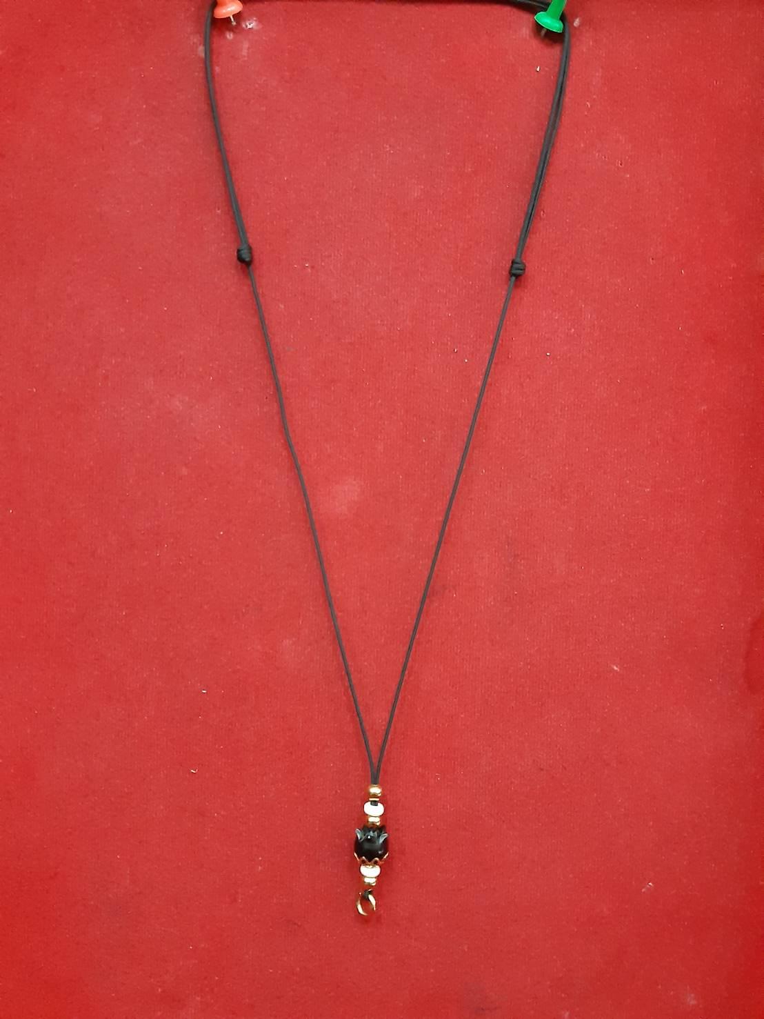 สร้อยเชือกไนล่อน ตุ้มโลหะชุบทอง ห้อยพระ 1 องค์ ฟรีไซต์ Nylon rope neckless อุปกรณ์