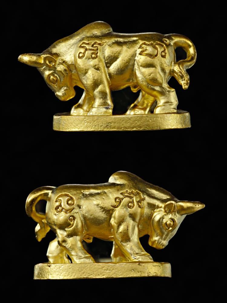 วัวธนูมหาลาภ โคอุสุภราช เนื้อสัมฤทธิ์ชุบทอง รุ่นมหาโชครับทรัพย์ หลวงพ่อหวั่น วัดคลองคูณ 2562
