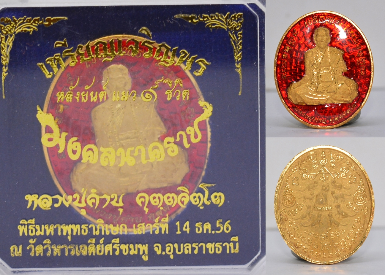 เหรียญเจริญพรหลังแมว 9 ชีวิต เนื้อทองแดงกะหลั่ยทองลงยาแดง รุ่นมงคลนาคราช หลวงปู่คำบุ วัดกุดชมภู 2556