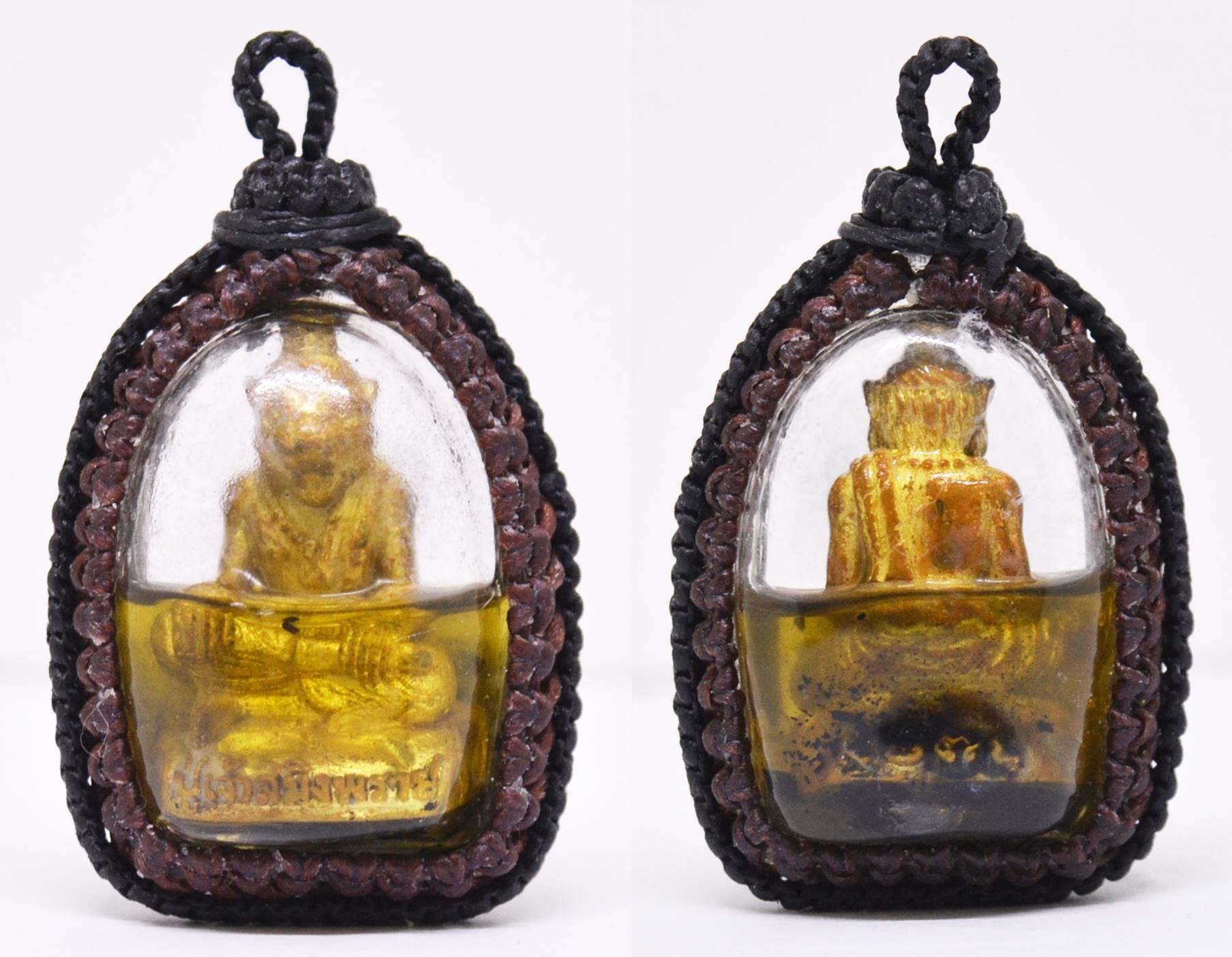 ปู่เจ้าสมิงพราย ทองเหลืองฝังตะกรุดเทพรำลึก อาจารย์พรต สำนักปู่เสน่ห์โคบุตร เลี่ยมน้ำมันว่านfดอกทอง