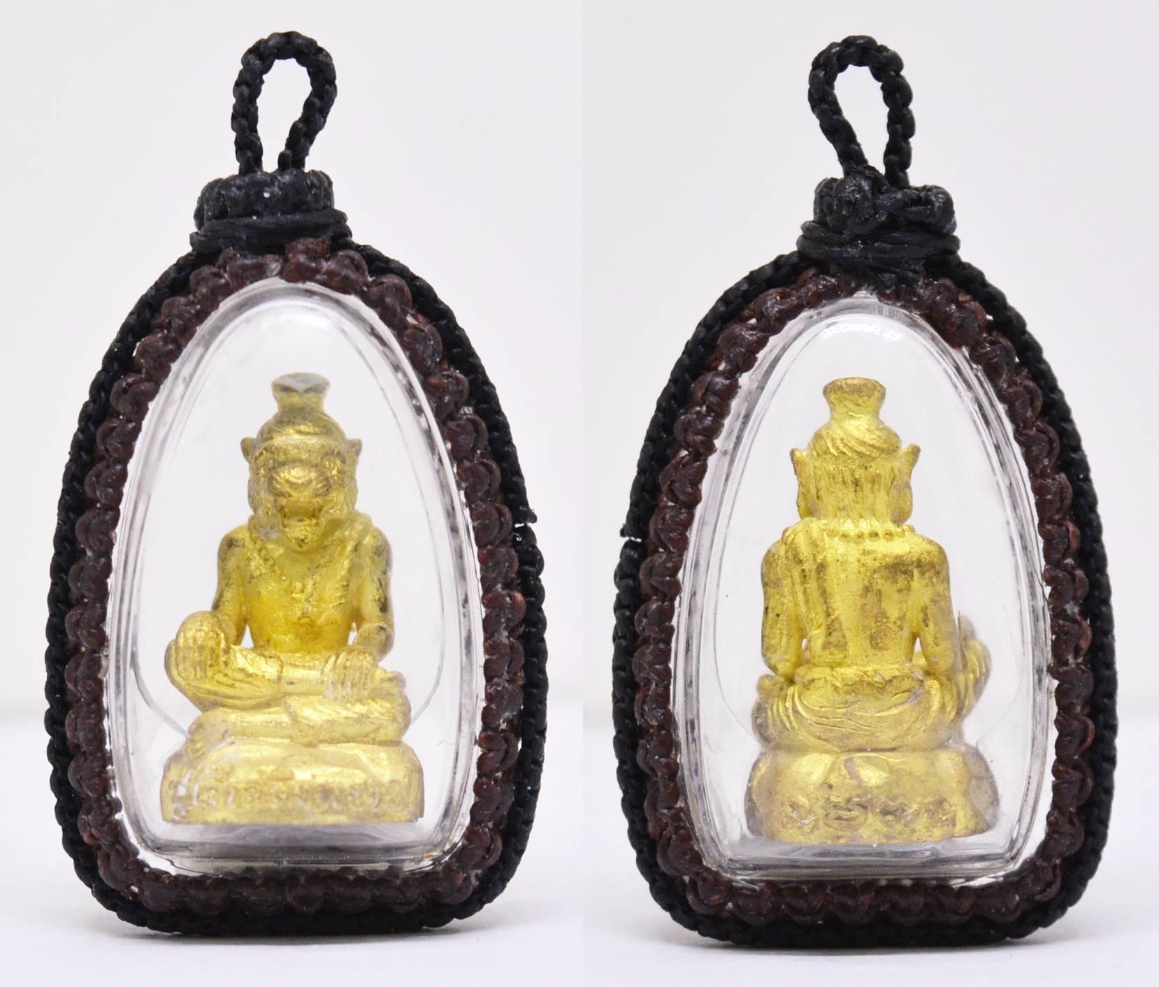 ปู่เจ้าสมิงพราย ทองเหลืองฝังตะกรุดเทพรำลึก อาจารย์พรต สำนักปู่เสน่ห์โคบุตร ถักเชือกเทียน