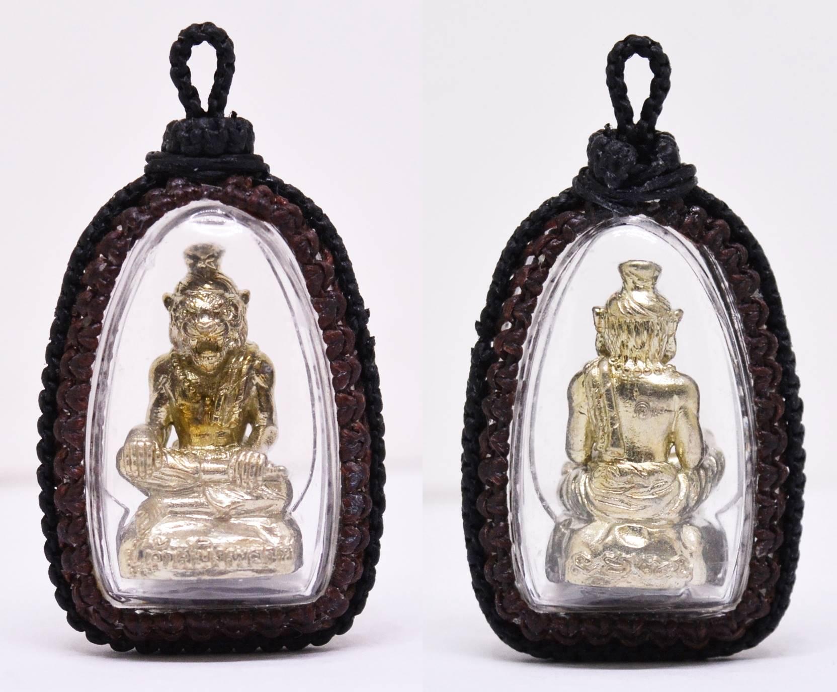 ปู่เจ้าสมิงพราย ทองขาวฝังตะกรุดเทพรำลึก อาจารย์พรต สำนักปู่เสน่ห์โคบุตร ถักเชือกเทียน