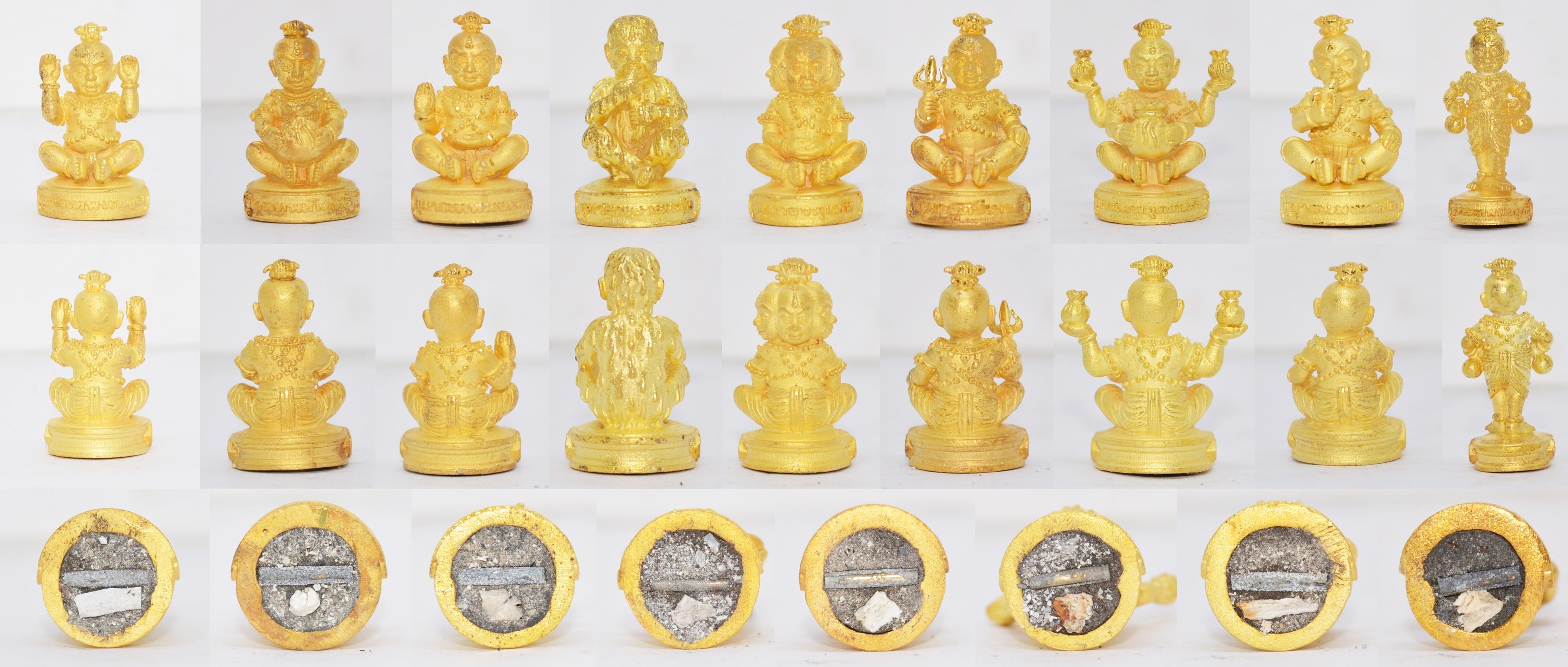กุมารทอง เนื้อสัมฤทธิ์ชุบทอง ชุดละ 9 องค์ รุ่นกำเนิดกุมารทอง หลวงปู่เณรแก้ว วัดบ้านเกษตรทุ่งเศรษฐี