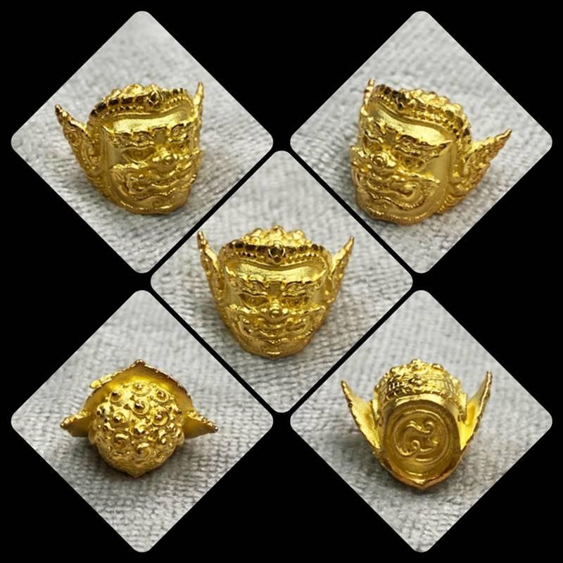 เศียรพระพิราพ เนื้อสัมฤทธิ์ชุบทอง รุ่นกำเนิดทรัพย์ พระอาจารย์ศุภสิทธิ์ วัดบางน้ำชน 2562