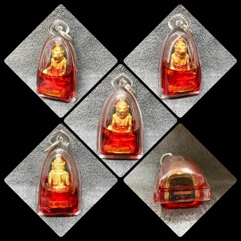 ปู่เจ้าสมิงพราย ทองเหลืองฝังตะกรุดเทพรำลึก อาจารย์พรต สำนักปู่เสน่ห์โคบุตร เลี่ยมน้ำมันว่านไก่แดง