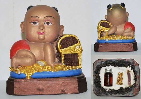 กุมารทอง เนื้อแร่ ขนาด 4x5 นิ้ว เพ้นท์สี หลวงพ่อสำเนา วัดโพสังโฆ สิงห์บุรี 2558