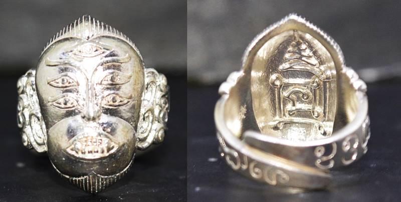 แหวนสี่หูห้าตา เนื้อเงิน อาจารย์สุบิน นะหน้าทอง 2556