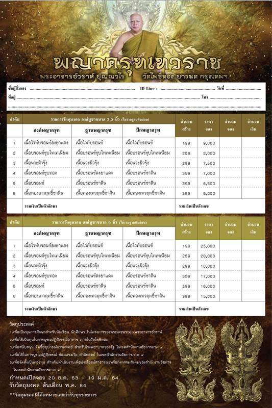 เปิดจองวัตถุมงคล ครุฑ พระอาจารย์วราห์ วัดโพธิ์ทอง 2563 7