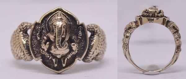 แหวนพระพิฆเณศวร เนื้ออัลปาก้า พิมพ์เล็ก รุ่นฉลองพระอุโบสถ หลวงปู่หงษ์ วัดเพชรบุรี 2550