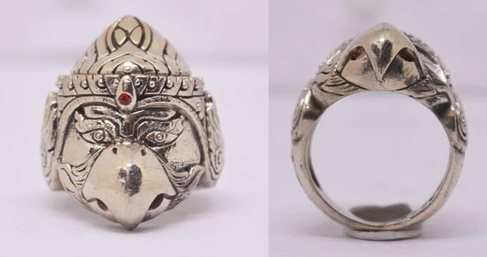 แหวนพญาครุฑ เนื้ออัลปาก้า  รุ่นรวย รวย รวย หลวงพ่อไสว วัดปราสาทพนมรุ้ง บุรีรัมย์
