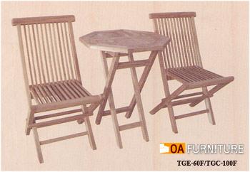 ชุดโต๊ะพับไม้สักทรงแปดเหลี่ยม SET1