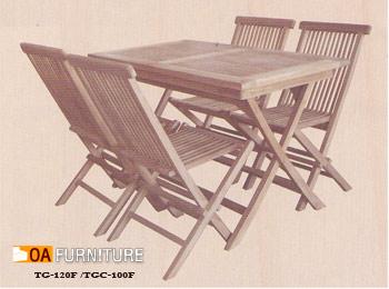 ชุดโต๊ะพับไม้สัก พร้อมเก้าอี้ 4 ตัว SET3