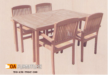 ชุดโต๊ะพับไม้สัก พร้อมเก้าอี้ 4 ที่นั่ง SET5