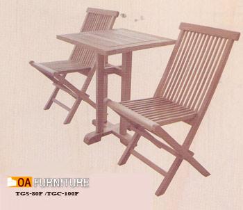 ชุดโต๊ะพับไม้สักทรงจตตุรัส พร้อมเก้าอี้ 2 ที่นั่ง SET6