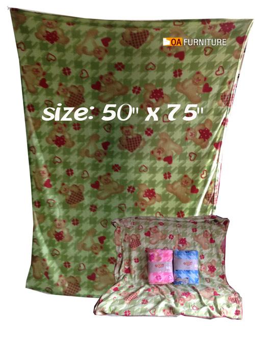 ผ้าห่มสีพื้นลายหมีหัวใจ 50x75
