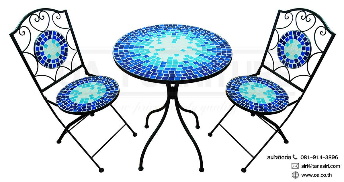 ชุดโต๊ะ-เก้าอี้กลาสเซร่า OCEAN BLUE
