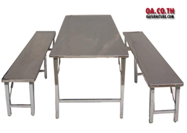 ชุดโต๊ะเก้าอี้พับหน้าสแตนเลส  โรงอาหาร