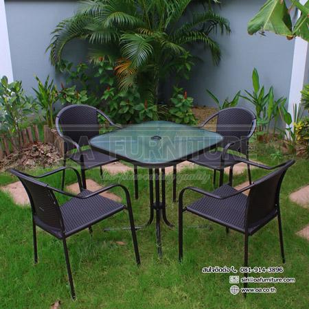 ชุดโต๊ะเหลี่ยม-เก้าอี้หวายเทียม COFFEE SET