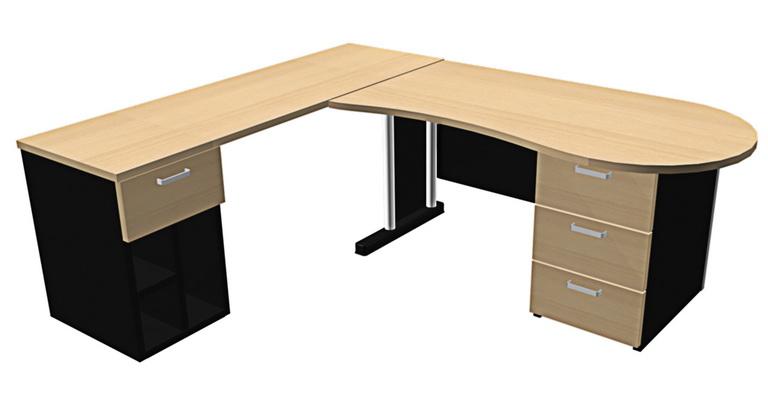 โต๊ะทำงานรูปตัวแอลมุมโค้งมน (PP)
