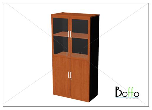 ตู้เอกสารขนาดกลาง 2 ช่องบนบานกระจก 2 ช่องล่างบานทึบ 80(ก)*40(ล)*160(ส) ซม. (เมลามีน)