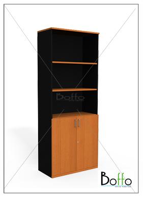 ตู้เอกสารขนาดสูง 2 ชั้นโล่ง ล่างบานเเปิด 80(ก)*40(ล)*200(ส) ซม. (เมลามีน)