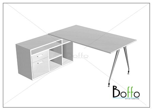 ชุดโต๊ะทำงานผู้บริหารขาเหล็ก Flexi 160 Set ขนาด 160(ก)120(ล)*75(ส) ซม. (เมลามีน)