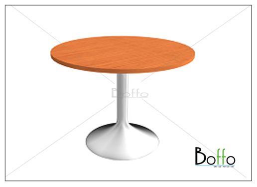 โต๊ะประชุมทรงกลม ขาเหล็ก ขนาด 100(ก)*75(ส) ซม. (เมลามีน)