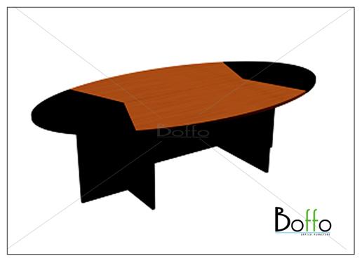 โต๊ะประชุมทรงรูปไข่ (แยกชิ้นได้) ขนาด 260(ก)*140(ล)*75(ส) ซม. (เมลามีน)
