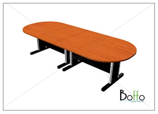 โต๊ะประชุมทรงแค๊ปซูลขาเหล็ก (แยกชิ้นได้) ขนาด 400(ก)*120(ล)*75(ส) ซม. (เมลามีน)