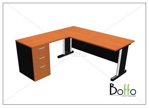 ชุดโต๊ะทำงานผู้บริหาร ขาเหล็ก ขนาด 160(ก)120(ล)*75(ส) ซม. (เมลามีน)
