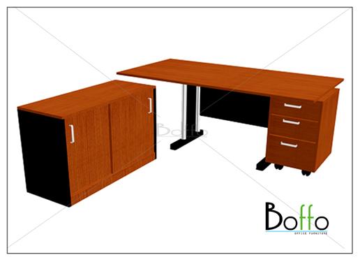 ชุดโต๊ะทำงานผู้บริหารขาเหล็ก ขนาด 180(ก)90(ล)*75(ส) ซม.(เมลามีน)