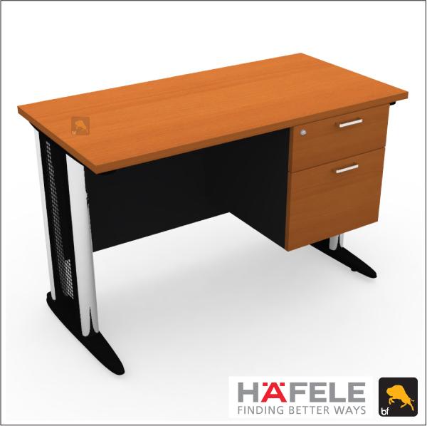 โต๊ะทำงานขาเหล็ก 2 ลิ้นชัก ขนาด 120*(ก)60*(ล)75(ส) ซม. (เมลามีน)