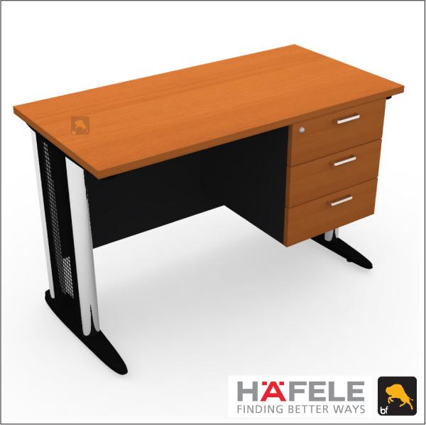 โต๊ะทำงานขาเหล็ก 3 ลิ้นชัก ขนาด 120*(ก)60*(ล)75(ส) ซม. (เมลามีน)